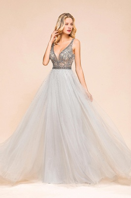 Beaded Plunging V-Neck Prom Dresses Sexy Tulle Sleeveless Evening Dresses On Sale_9