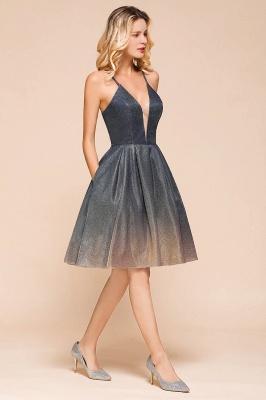 Stunning Spaghetti Strap V-Neck Short Prom Dresses Ruffles Crisscross Back Graduation Dresses_7