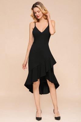 Stunning Black Spaghetti Strap Sweetheart Mermaid Short Prom Dresses Backless Rufffles Formal Dresses_5