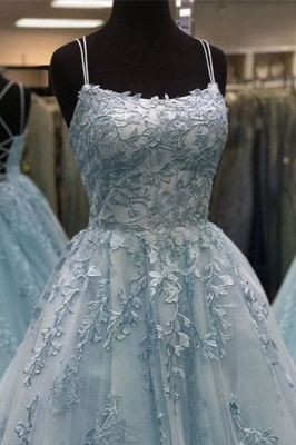 Spaghetti Strap Backless Appliques Prom Dresses A-Line Lace Sleeveless Evening Dresses_4