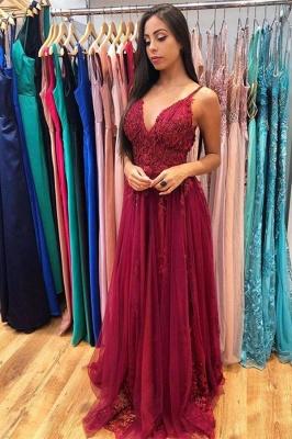 Glamorous Burgundy Spaghetti Strap V-Neck Applique Pearls Prom Dresses A-line Ruffles Evening Dresses_1