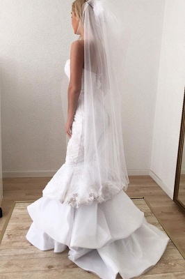 Sexy Strapless Sweetheart White Wedding Dresses Lace Appliques Mermaid Ruffles Long Bridal Gowns Online_2