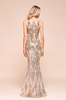 Glamorous Sequined High-Neck Prom Dresses Sleevelss Mermaid Long Formal Party Dresses_3
