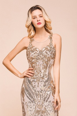 Glamorous Sequined High-Neck Prom Dresses Sleevelss Mermaid Long Formal Party Dresses_9