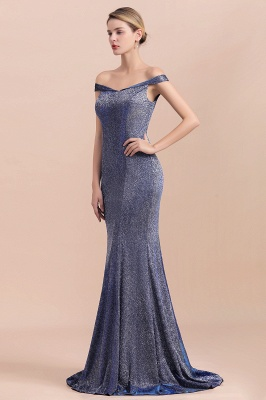 Gorgeous Off-the-shoulder Silver Prom Dresses Sparkly Sequin Long  Evening Dresses_5