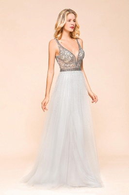 Beaded Plunging V-Neck Prom Dresses Sexy Tulle Sleeveless Evening Dresses On Sale_4