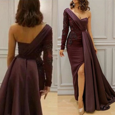 One-Shoulder Appliques Spandex Prom Dresses Open Back Evening Dresses with Waist Band_3