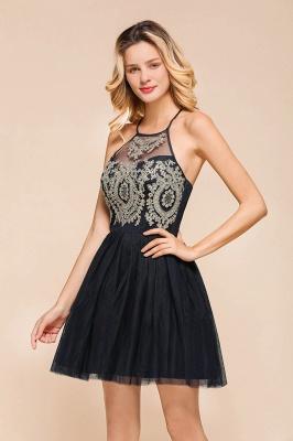 Gorgeous Halter Applique Lace Short Prom Dresses A-Line Backless Formal Dresses_5
