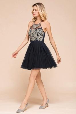 Gorgeous Halter Applique Lace Short Prom Dresses A-Line Backless Formal Dresses_4