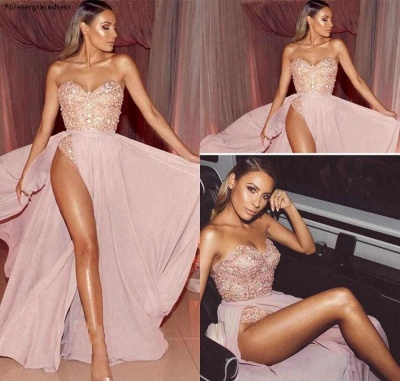 Sexy Pink Sweetheart Strapless Applique Beaded Prom Dresses  Front Slit A-Line Evening Dresses_3