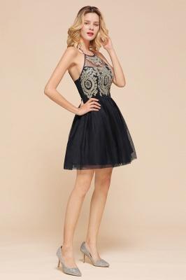 Gorgeous Halter Applique Lace Short Prom Dresses A-Line Backless Formal Dresses_7