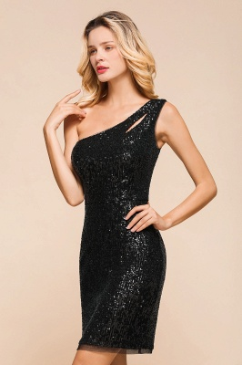 Black One-Shoulder Sequined Prom Dresses Sheath Short Formal Dresses_9
