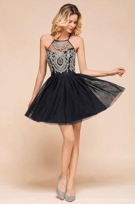 Gorgeous Halter Applique Lace Short Prom Dresses A-Line Backless Formal Dresses_8