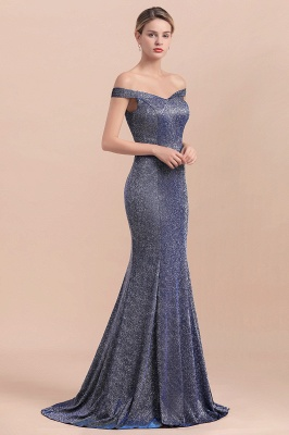Gorgeous Off-the-shoulder Silver Prom Dresses Sparkly Sequin Long  Evening Dresses_7