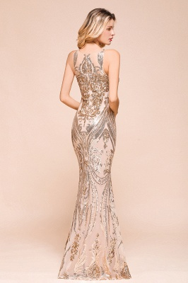 Glamorous Sequined High-Neck Prom Dresses Sleevelss Mermaid Long Formal Party Dresses_8