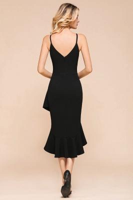 Stunning Black Spaghetti Strap Sweetheart Mermaid Short Prom Dresses Backless Rufffles Formal Dresses_3