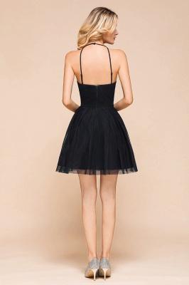 Gorgeous Halter Applique Lace Short Prom Dresses A-Line Backless Formal Dresses_3