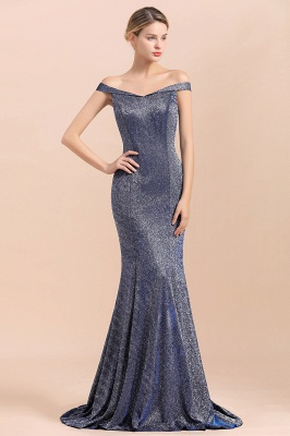 Gorgeous Off-the-shoulder Silver Prom Dresses Sparkly Sequin Long  Evening Dresses_6