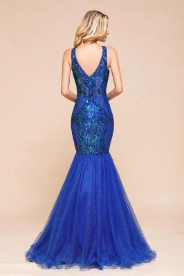 Elegant V-Neck Sequined Royal Blue Tulle Prom Dresses Sleeveless Lace Appliques Mermaid Evening Dresses_3