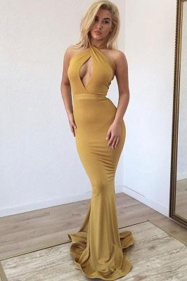 Affordable Halter Sleeveless Mermaid Prom Dresses Long Ruffles Evening Dresses On Sale_1