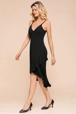 Stunning Black Spaghetti Strap Sweetheart Mermaid Short Prom Dresses Backless Rufffles Formal Dresses_6