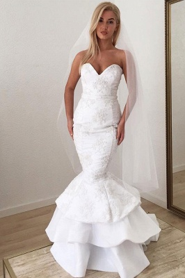 Sexy Strapless Sweetheart White Wedding Dresses Lace Appliques Mermaid Ruffles Long Bridal Gowns Online_3