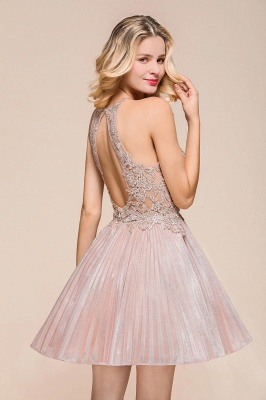 Gorgeous Pink Halter Lace Applique Short Prom Dresses A-Line Backless Formal Party Dresses_8