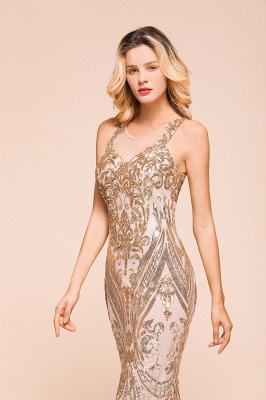 Glamorous Sequined High-Neck Prom Dresses Sleevelss Mermaid Long Formal Party Dresses_7