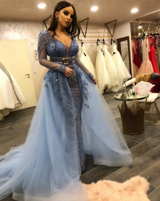 Stunning V-Neck Fitted Prom Dresses Long Sleeves Evening Dresses with Detachable Train_3