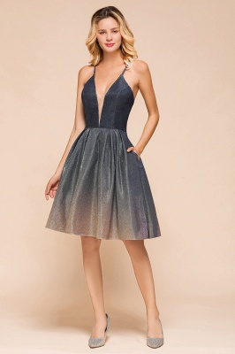 Stunning Spaghetti Strap V-Neck Short Prom Dresses Ruffles Crisscross Back Graduation Dresses_8