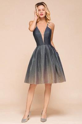 Stunning Spaghetti Strap V-Neck Short Prom Dresses Ruffles Crisscross Back Graduation Dresses_6