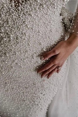 Luxury Ivory V-Neck Wedding Dress Long Sleeves Despatchable Train Bridal Gowns with Fully coverd Pearls_6