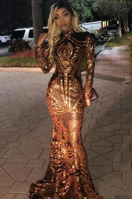 Gorgeous Golden High Neck Long Sleeve Sequined Mermaid Prom Dresses Fitted And Flare Evening Dresses_2