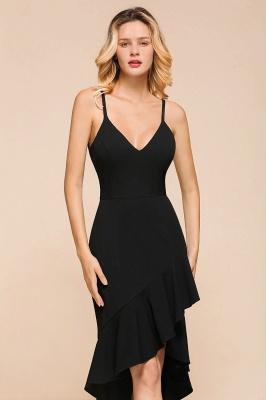 Stunning Black Spaghetti Strap Sweetheart Mermaid Short Prom Dresses Backless Rufffles Formal Dresses_8