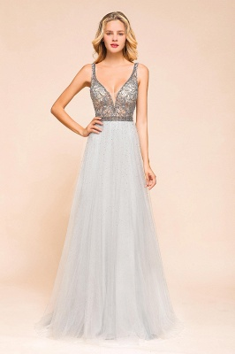 Beaded Plunging V-Neck Prom Dresses Sexy Tulle Sleeveless Evening Dresses On Sale_1