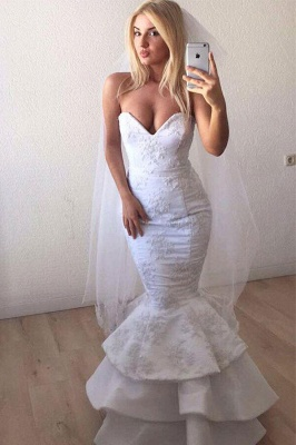 Sexy Strapless Sweetheart White Wedding Dresses Lace Appliques Mermaid Ruffles Long Bridal Gowns Online_1