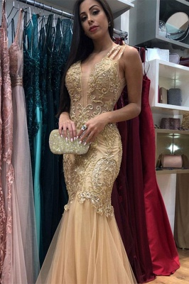 Affordable Golden Strap Sleeveless V-Neck Prom Dresses Applique Beading Jewel Mermaid Formal Dresses_1