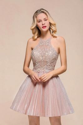 Gorgeous Pink Halter Lace Applique Short Prom Dresses A-Line Backless Formal Party Dresses_5