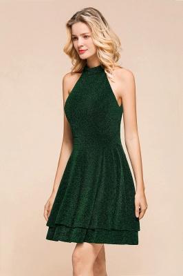 Glamorous Green Halter Sleeveless Sequined Short Prom Dresses Backless Sheath Formal Dresses_7