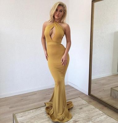 Affordable Halter Sleeveless Mermaid Prom Dresses Long Ruffles Evening Dresses On Sale_2