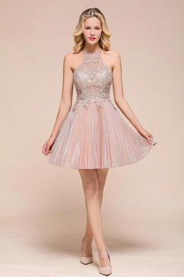 Gorgeous Pink Halter Lace Applique Short Prom Dresses A-Line Backless Formal Party Dresses_1