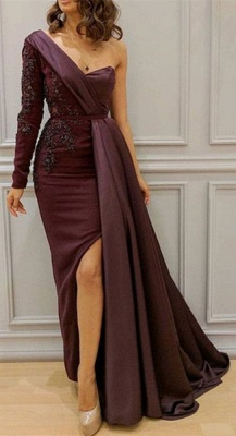 One-Shoulder Appliques Spandex Prom Dresses Open Back Evening Dresses with Waist Band_4