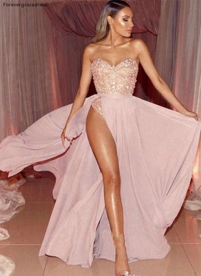 Sexy Pink Sweetheart Strapless Applique Beaded Prom Dresses  Front Slit A-Line Evening Dresses_4