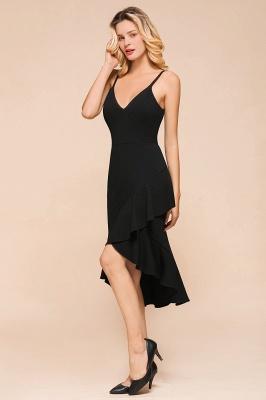 Stunning Black Spaghetti Strap Sweetheart Mermaid Short Prom Dresses Backless Rufffles Formal Dresses_4