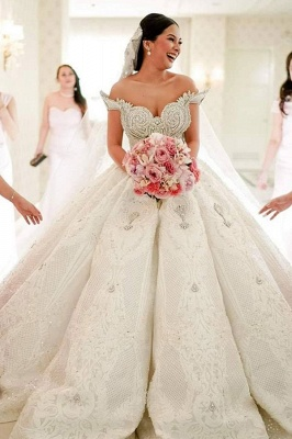Affordable Off-the-shoulder Appliques Wedding Dresses Beading Lace Ruffles Bridal Gowns_1