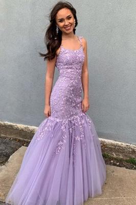 Purple Strapless Applique Lace Mermaid Prom Dresses Sleeveless Ruffles Floor Length Evening Dresses_1