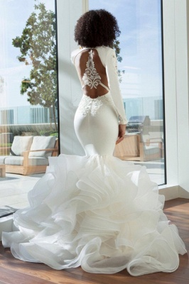 Sexy Mermaid Deep-V-Neck Wedding Dresses  Lace Appliques Bridal Gowns with Open Back On Sale_3