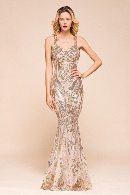 Glamorous Sequined High-Neck Prom Dresses Sleevelss Mermaid Long Formal Party Dresses_1