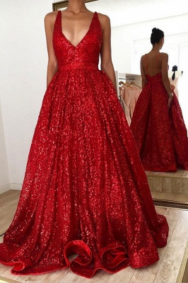 Affordable Sweetheart Straps Sequined Long Prom Dresses  A-Line Backless Evening Dresses_1