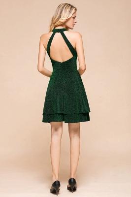 Glamorous Green Halter Sleeveless Sequined Short Prom Dresses Backless Sheath Formal Dresses_4